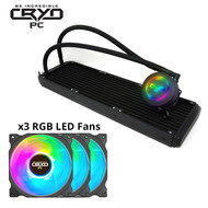Cryo-PC Cryo-PC LC360 360mm Water Liquid Cooling Cooler Radiator with x3 120mm LED Rainbow Lighting Case Fan CPU Cooler (Rainbow)