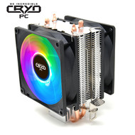 Cryo-PC Cryo-PC CPU Cooler RGB LED Fan 2-Heatpipes  Direct Contact Heatpipes, Rainbow LED CPU Fan for Intel LGA1151/1200, AMD AM4