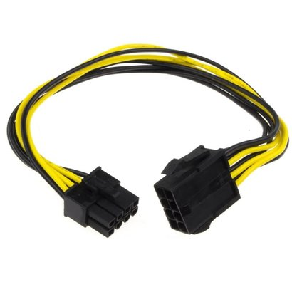 "12"" PCIe 8-pin Male Female Extension Cable"