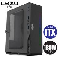 Cryo-PC Cryo-PC Mini ITX Aluminum Case with 180W PSU RGB LED, Black