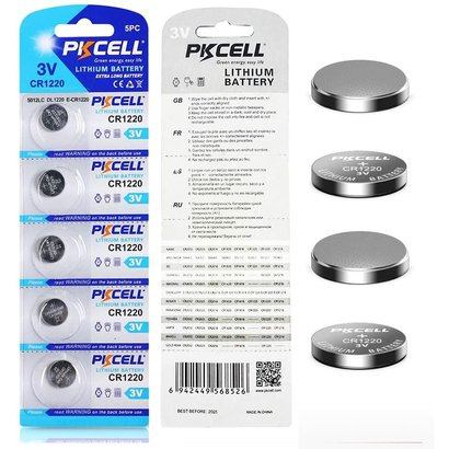 PKCELL 5-Pack CR1220 3V Button Cell Lithium Manganese Battery