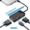 Gigacord Mini DisplayPort (Thunderbolt Port Compatible) to HDMI/DVI/VGA Male to Female 3-in-1 Adapter in Black