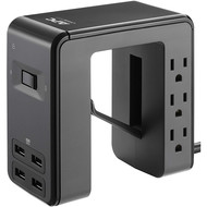 APC APC Desk Mount Power Station PE6U4, U-Shaped Surge Protector with USB Ports (4), Desk Clamp, 6 Outlet, 1080 Joules Black