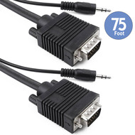 75Ft Triple Shielded VGA Male Male Monitor Cable with 3.5mm Stereo Audio, Black