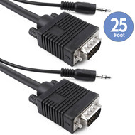 25Ft Triple Shielded VGA Male Male Monitor Cable with 3.5mm Stereo Audio, Black