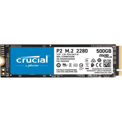 Crucial Crucial P2 500GB 3D NAND NVMe PCIe M.2 SSD Up to 2400MB/s - CT500P2SSD8