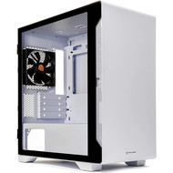 Thermaltake Thermaltake S100 Tempered Glass Snow Edition Micro-ATX mini-Tower Computer Case with 120mm Rear Fan Pre-Installed CA-1Q9-00S6WN-00, White