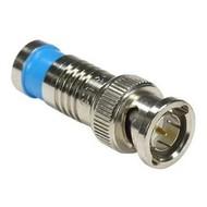 BNC Male Dual Shield RG59 Compression Connector Blue