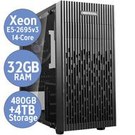 Cryo-PC Cryo-PC Micro ATX Liquid Cooled, Intel Xeon E5-2695v3 ES 14-Core, 32GB DDR4, 480GB  SSD, 4TB HD, Windows 10 Pro