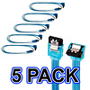 """5 Pack of 18"""" SATA 3.0 III 6Gbps Cable w/Locking Latch (Straight to 90 Degree) UV Blue"""
