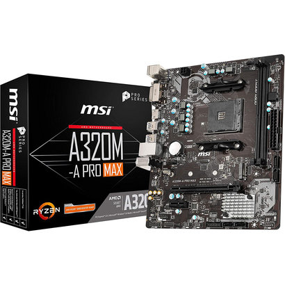 MSI MSI ProSeries AMD A320 1st, 2nd, 3rd Gen Ryzen Compliant AM4 DDR4 HDMI DVI M.2 USB 3 Micro-ATX Motherboard (A320M-A PRO MAX)