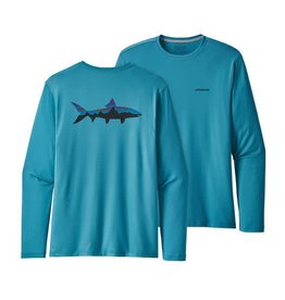 Patagonia Mens Graphic Tech Fish Tee Fitz Roy Bonefish: Lumi Blue