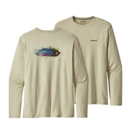 Patagonia Mens Graphic Tech Fish Tee Lucky Fly: Pelican