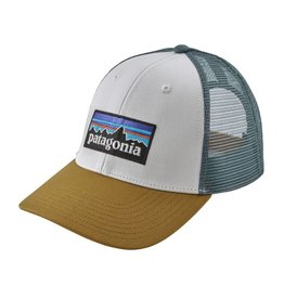 Patagonia P-6 Logo LoPro Trucker Hat White w/Kastanos Brown ALL