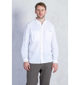 Exofficio Mens Air Strip Long Sleeve White