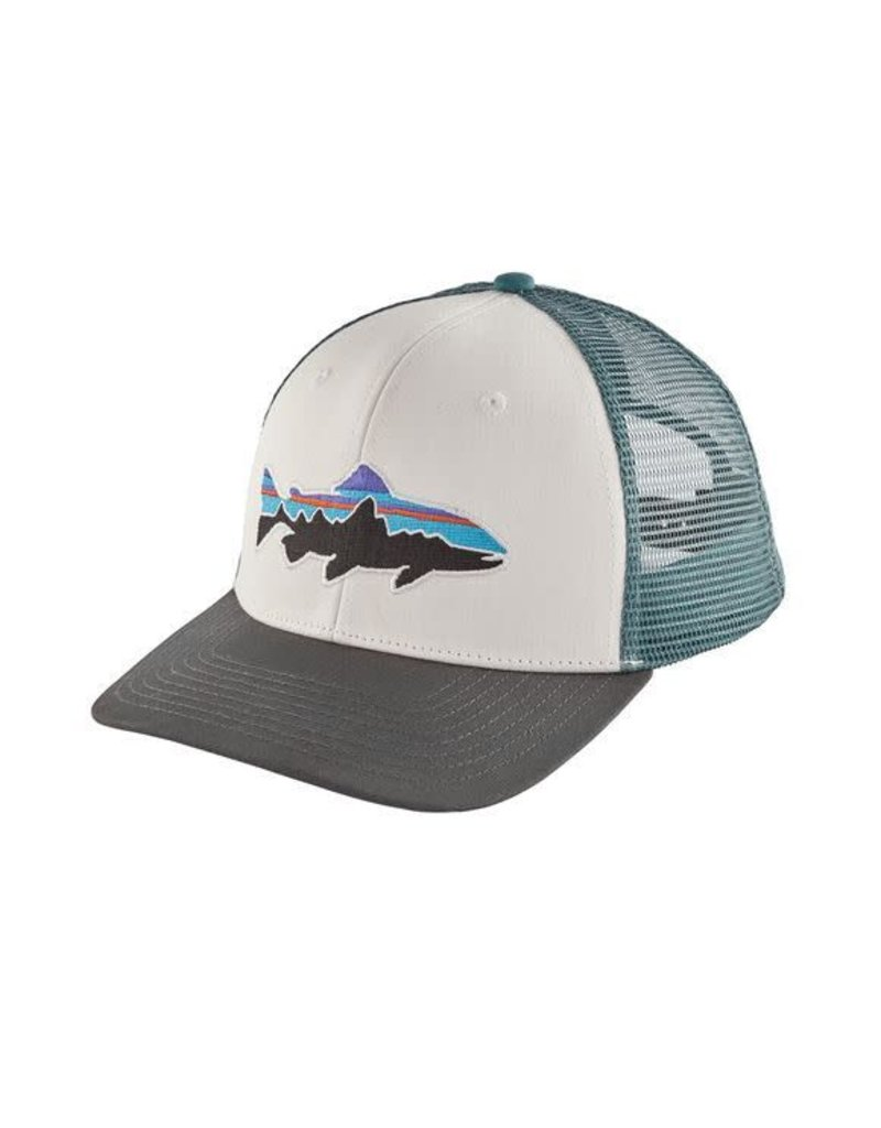 6839befd6 Patagonia Fitz Roy Trout Trucker Hat White w. Forge Grey
