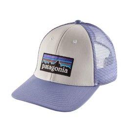 Patagonia P-6 Logo LoPro Trucker Hat White w/ Lt Violet Blue
