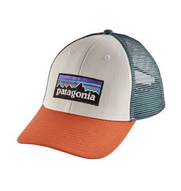 Patagonia P-6 Logo LoPro Trucker Hat White w/ Sunset Orange
