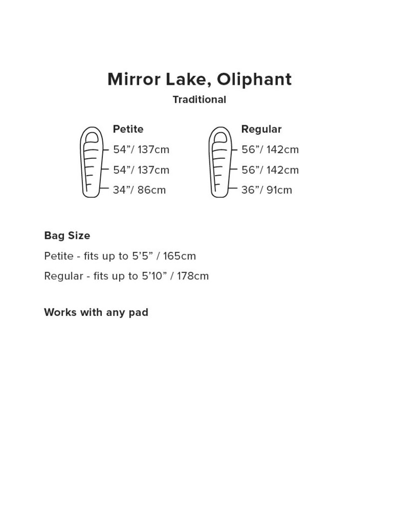 Big Agnes Mirror Lake 20 Sleeping Bag (600 DownTek) REGULAR RIGHT