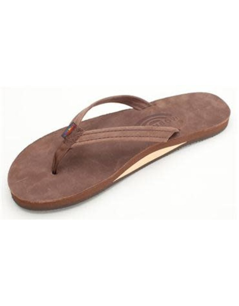 Rainbow Sandals Womens Premier Leather Flip Narrow Strap Espresso