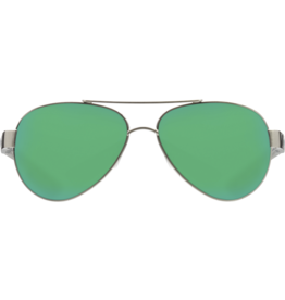 Costa Del Mar Loreto  OCEARCH Brushed Silver with + Gray Crystal Temples  Green Mirror 580P