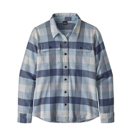 Patagonia Womens L/S Fjord Flannel Shirt Upriver: Woolly Blue