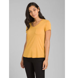 Prana Foundation Short Sleeve V-Neck Golden Sky Heather