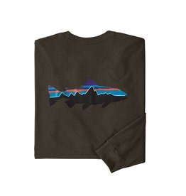 Patagonia M's L/S Fitz Roy Trout Responsibili-Tee Logwood Brown