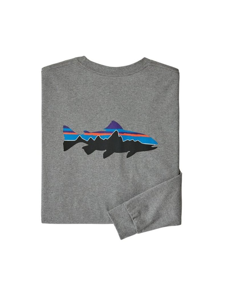Patagonia M's L/S Fitz Roy Trout Responsibili-Tee Gravel Heather