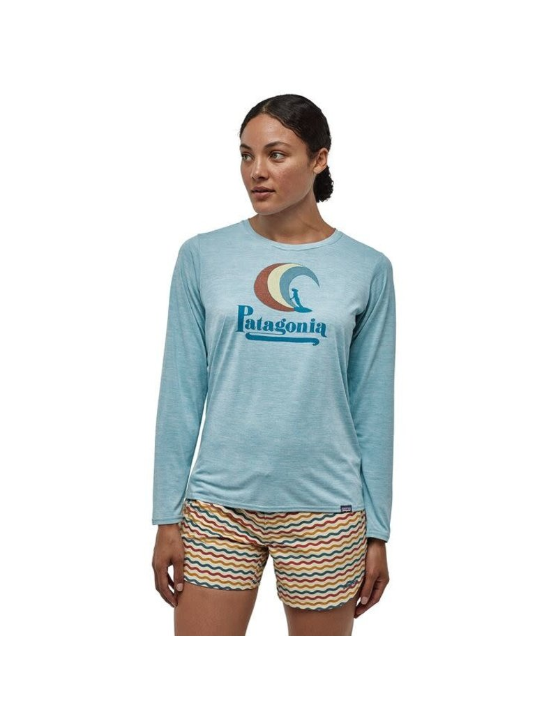 Patagonia Womens L/S Cap Cool Daily Graphic Shirt On Rail: Big Sky Blue X-Dye