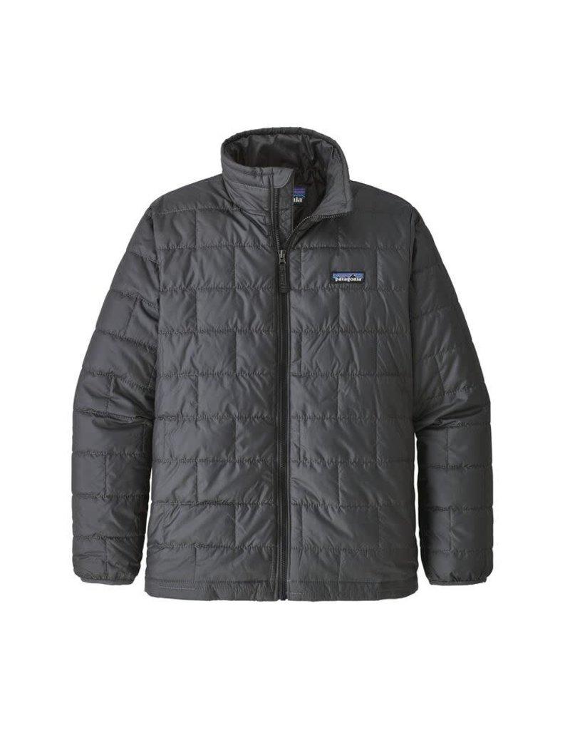 Patagonia Boys Nano Puff Jacket Forge Grey with Ink Black