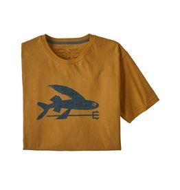 Patagonia Men's Flying Fish Organic T-Shirt Glyph Gold with Protected Peaks