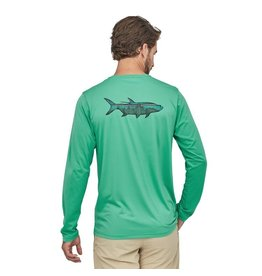Patagonia Mens L/S Cap Cool Daily Fish Graphic Shirt Sketched Fitz Roy Tarpon: Plains Green