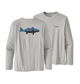 Patagonia Mens L/S Cap Cool Daily Fish Graphic Shirt Fitz Roy Redfish: Tailored Grey