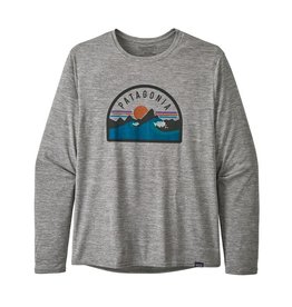 Patagonia Mens L/S Cap Cool Daily Graphic Shirt Boardie Badge: Feather Grey