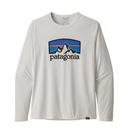 Patagonia Mens L/S Cap Cool Daily Graphic Shirt Fitz Roy Horizons: White