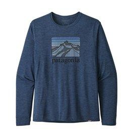 Patagonia Mens L/S Cap Cool Daily Graphic Shirt Line Logo Ridge: Stone Blue X-Dye