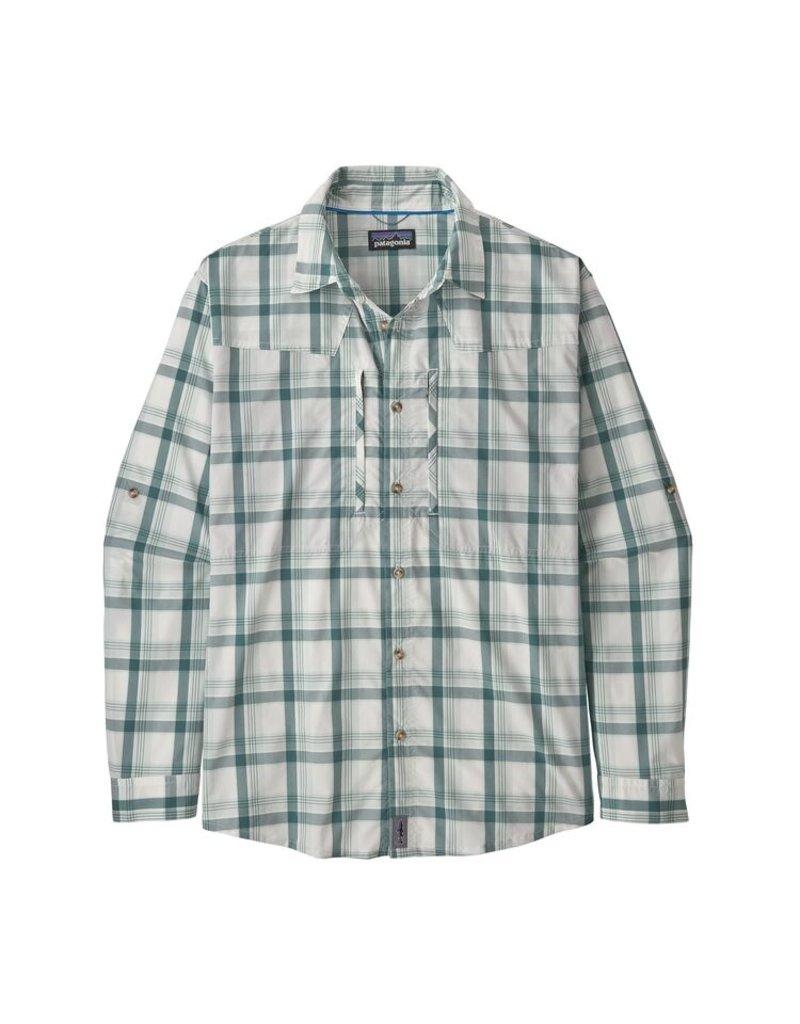 Patagonia Mens L/S Sun Stretch Shirt Granville Big: Birch White