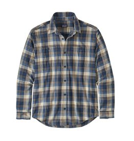 Patagonia Mens L/S Pima Cotton Shirt Buttes Small: Stone Blue