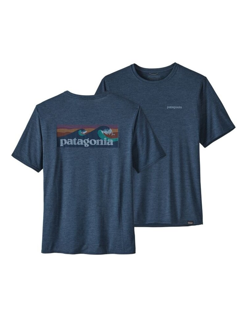 Patagonia Mens Cap Cool Daily Graphic Shirt Boardshort Logo: Stone Blue X-Dye