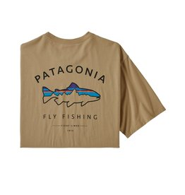 Patagonia Mens Framed Fitz Roy Trout Organic T-Shirt Classic Tan