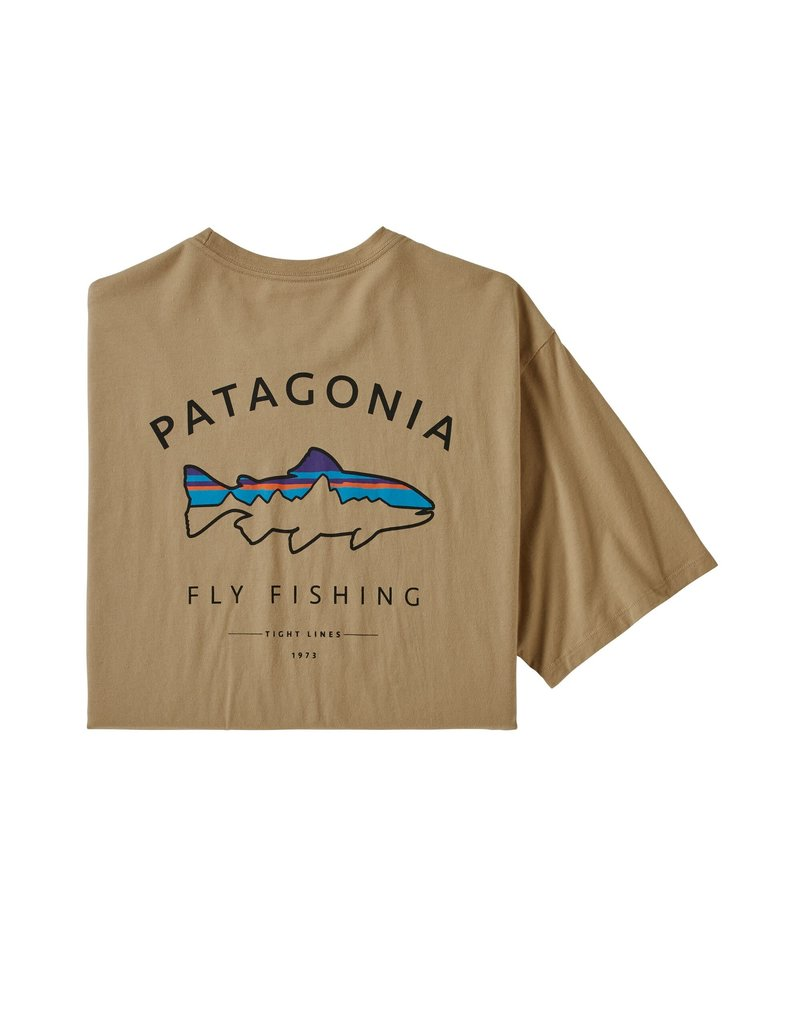 Patagonia Mens Framed Fitz Roy Trout Organic T-Shirt Classic Tan