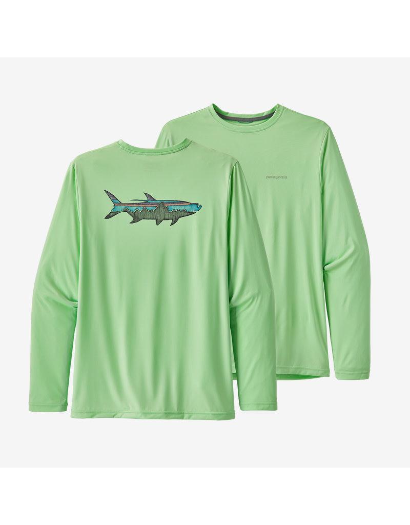 Patagonia Mens L/S Cap Cool Daily Fish Graphic Shirt Sketched Fitz Roy Tarpon