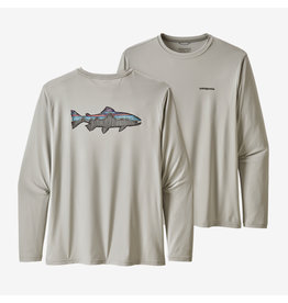 Patagonia Mens L/S Cap Cool Daily Fish Graphic Shirt Sketched Fitz Roy Trout