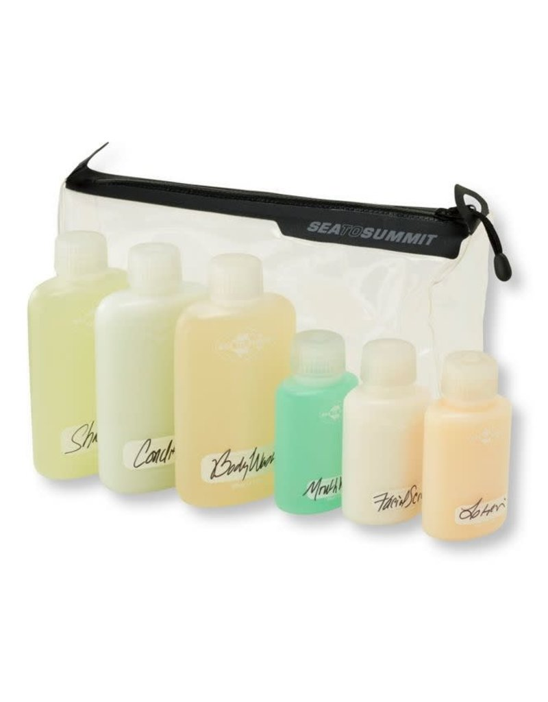 Sea To Summit Travelling Light TPU Clear Zip Pouch with 6 Bottles - TSA Carry on Size