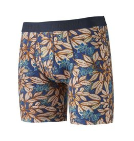Patagonia Mens Essential Boxer Briefs - 6 in. Hevea Leaves: Superior Blue