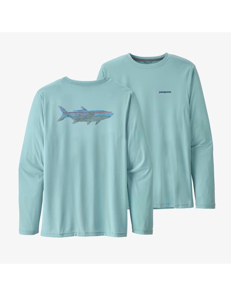 Patagonia Mens L/S Cap Cool Daily Fish Graphic Shirt Woodgrain Fitz Roy Tarpon: Fin Blue