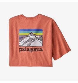 Patagonia Mens Line Logo Ridge Pocket Responsibili-Tee Coho Coral