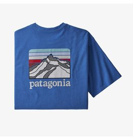 Patagonia Mens Line Logo Ridge Pocket Responsibili-Tee Bayou Blue