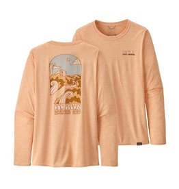 Patagonia Womens Long-Sleeved Cap Cool Daily Graphic Shirt Run Clean: Cowry Peach